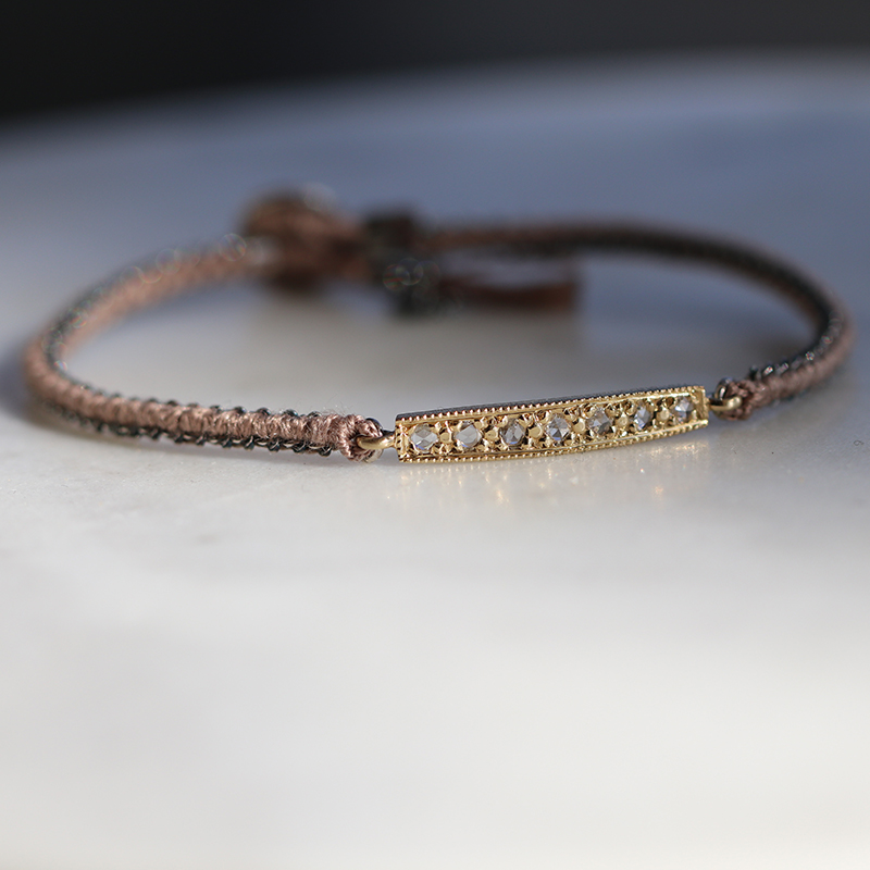 14k Yellow Gold Diamond Bar Silk Woven Bracelet