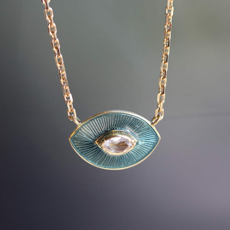 Talisman Petrol Enamel Diamond Necklace