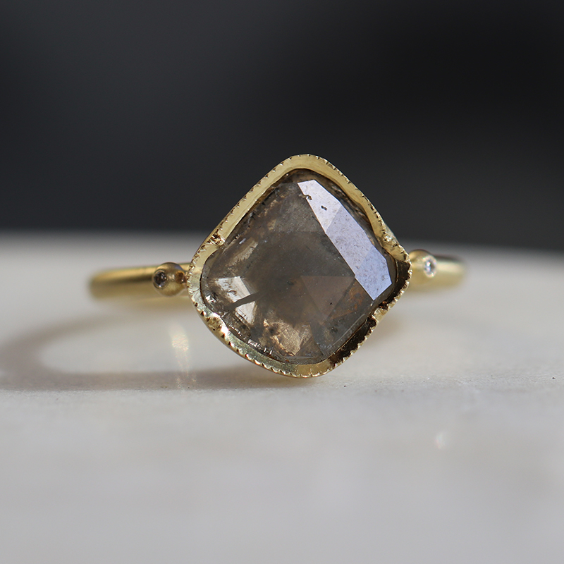 Asymmetrical Diamond Slice 18k Gold Ring