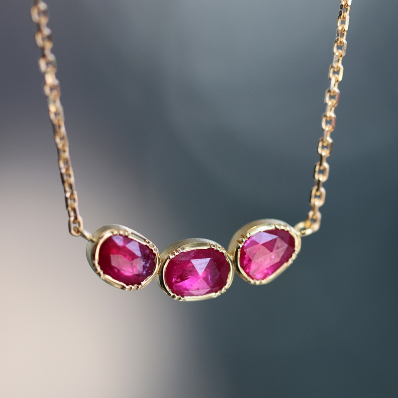 Ruby Orbit Triple Gold Necklace