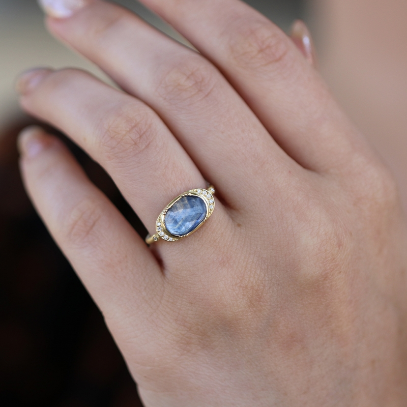 Blue Sapphire Ellipse Halo Ring