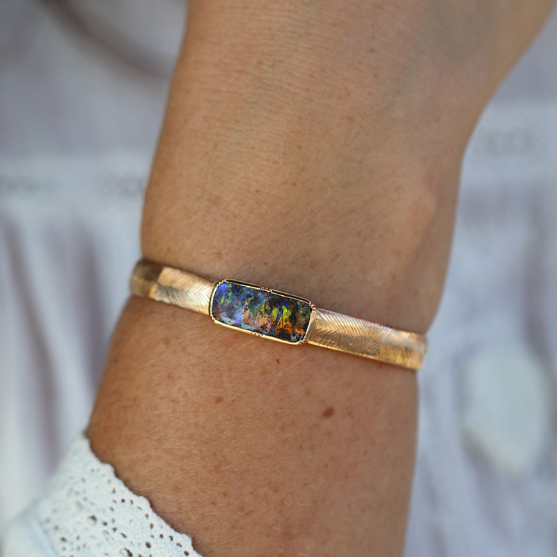 18k Rose Gold Hand Engraved Opal Cuff