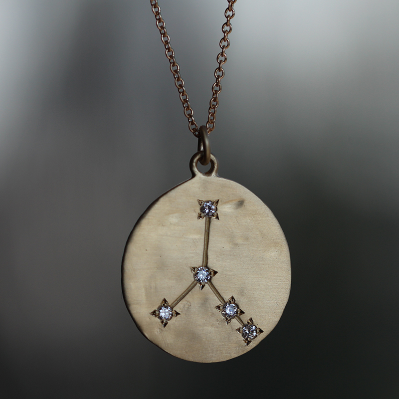 Cancer 14k Gold Diamond Constellation Astrology Necklace