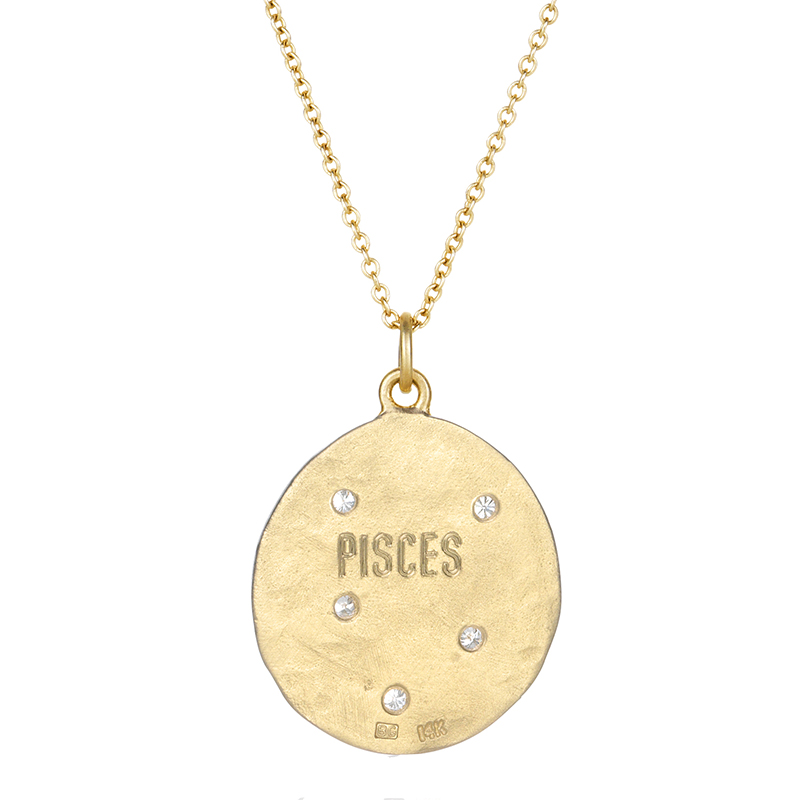 Pisces 14k Gold Diamond Constellation Astrology Necklace