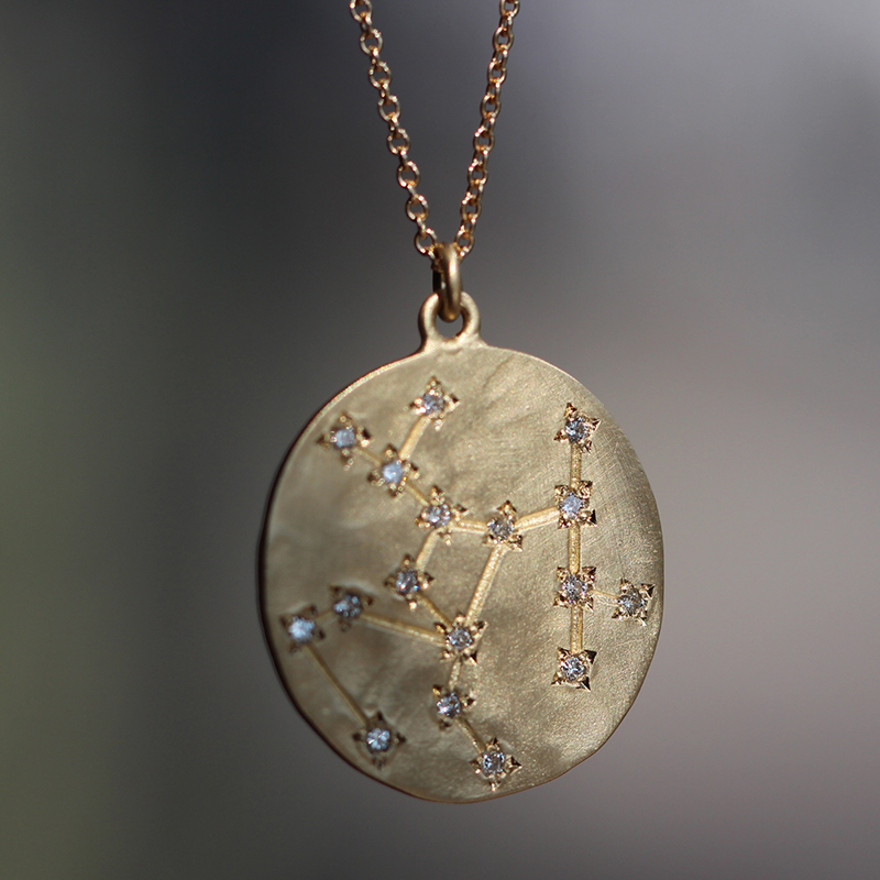 Sagittarius 14k Gold Diamond Constellation Astrology Necklace