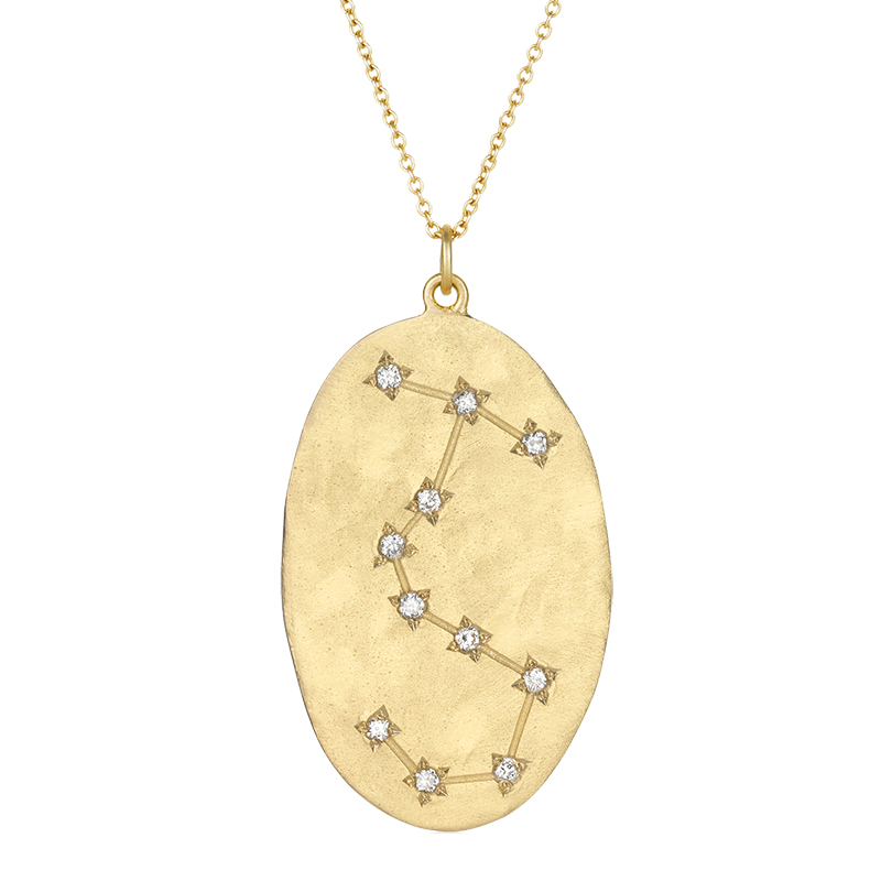 Scorpio 14k Gold Diamond Constellation Astrology Necklace