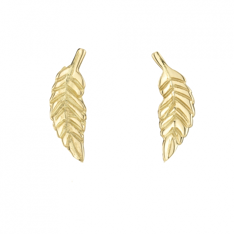 Leaf Stud 18k Yellow Gold Stud Earrings