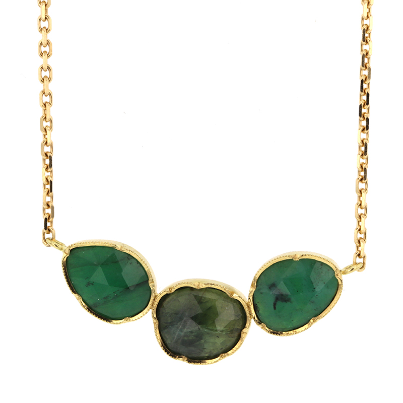 Emerald and Sapphire Triple Orbit Necklace
