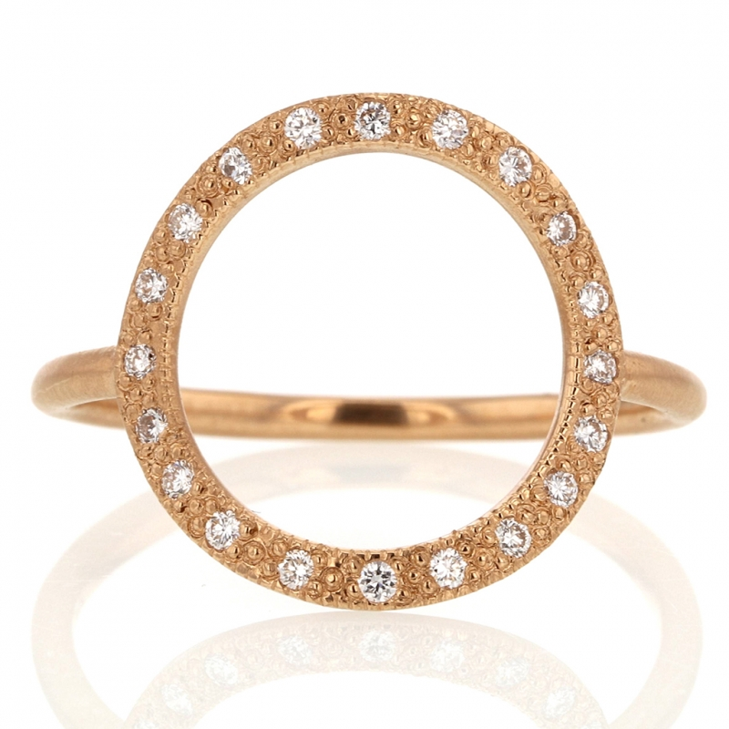 18k Rose Gold Diamond Circle Infinity Ring
