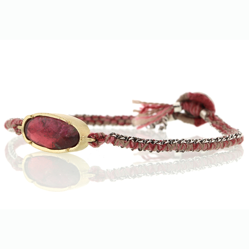 Pink Tourmaline 14k Yellow Gold Woven Bracelet