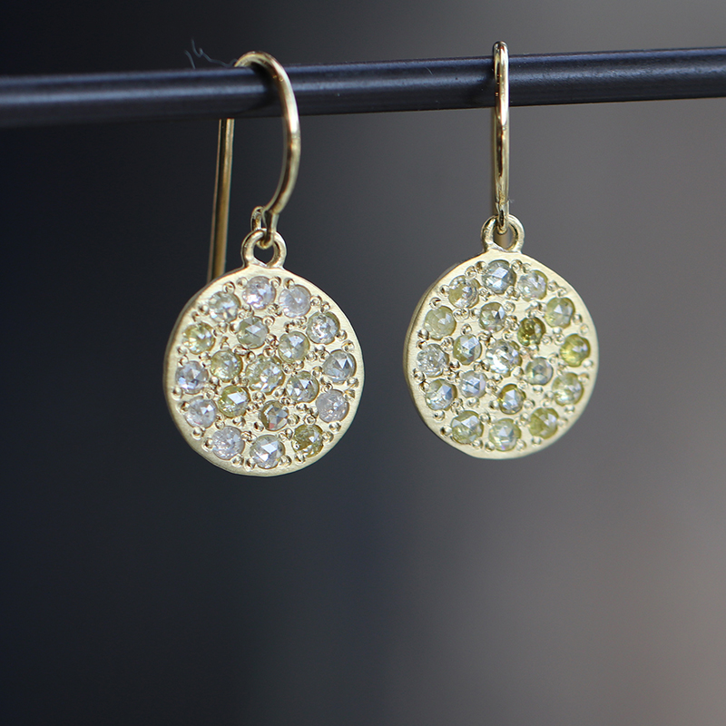 Mini Mars Gold Multi Color Diamond Earrings