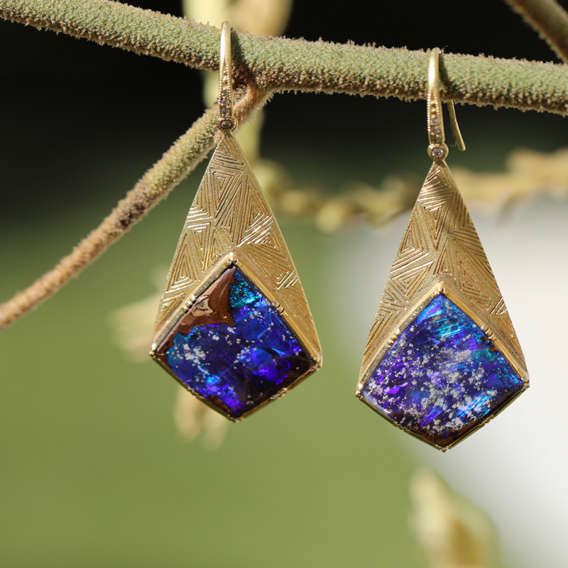 Boulder Opal Geo Earrings