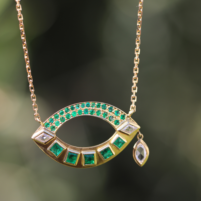 Open Talisman Emerald and Diamond Necklace