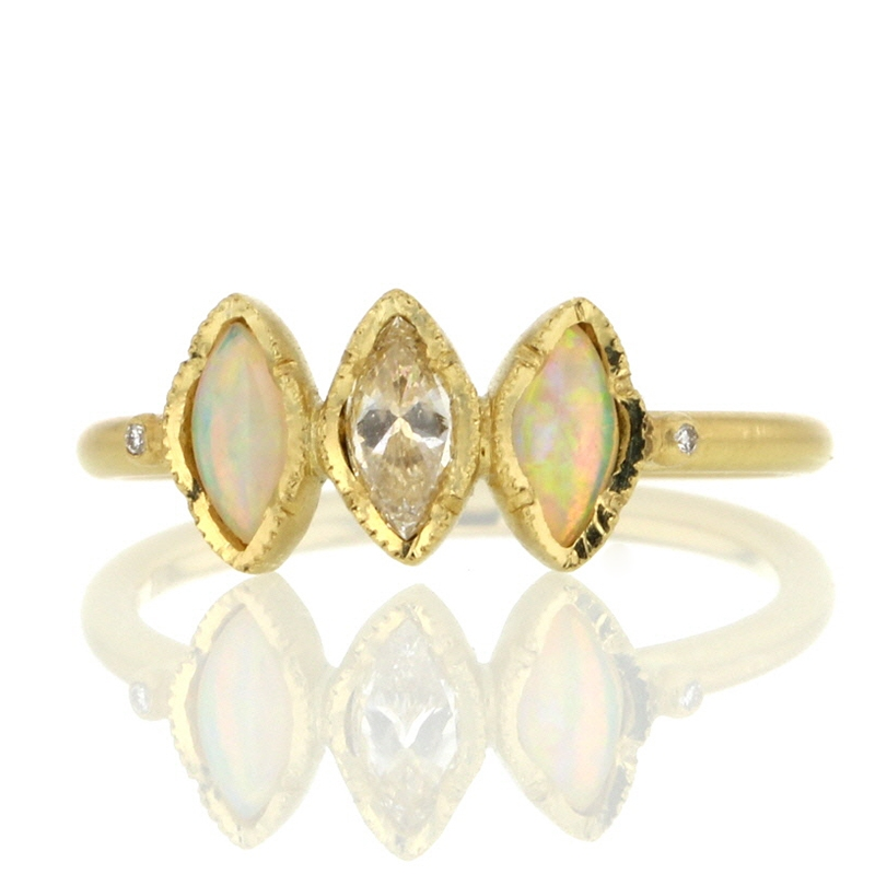 Triple Marquise Opal and Diamond Gold Ring