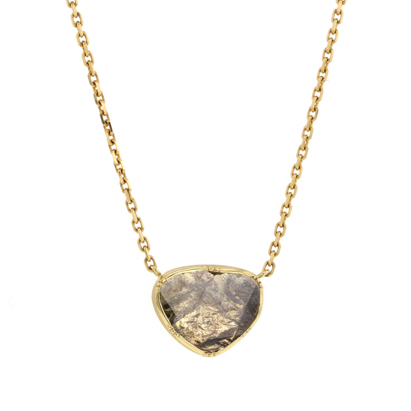 Diamond Slice 18k Gold Necklace