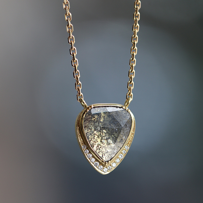 Diamond Slice Teardrop Diamond Halo Necklace