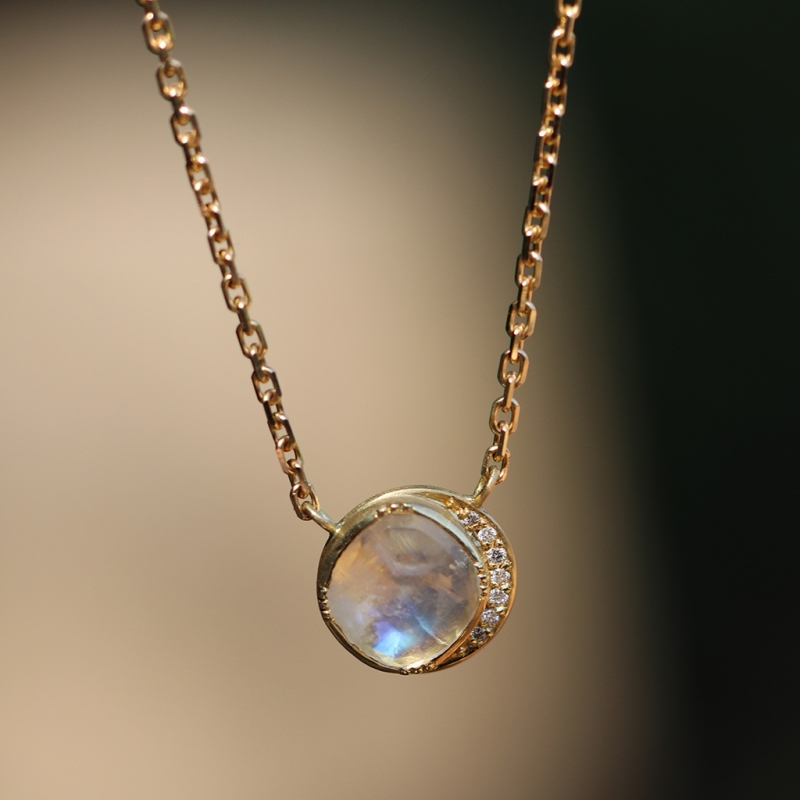 Moonstone 18k Gold Diamond Halo Necklace