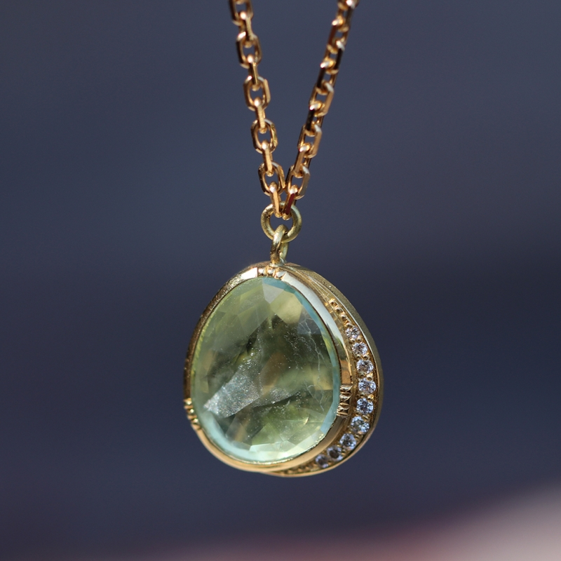 Orbit Halo Aquamarine Necklace