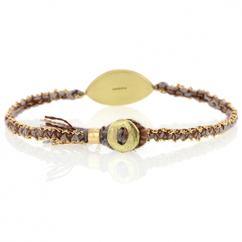 Talisman Enamel Diamond Pewter Silk and Gold Bracelet