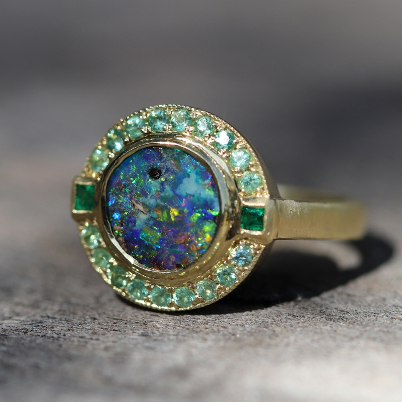 Galaxy Boulder Opal and Emerald Gold Ring