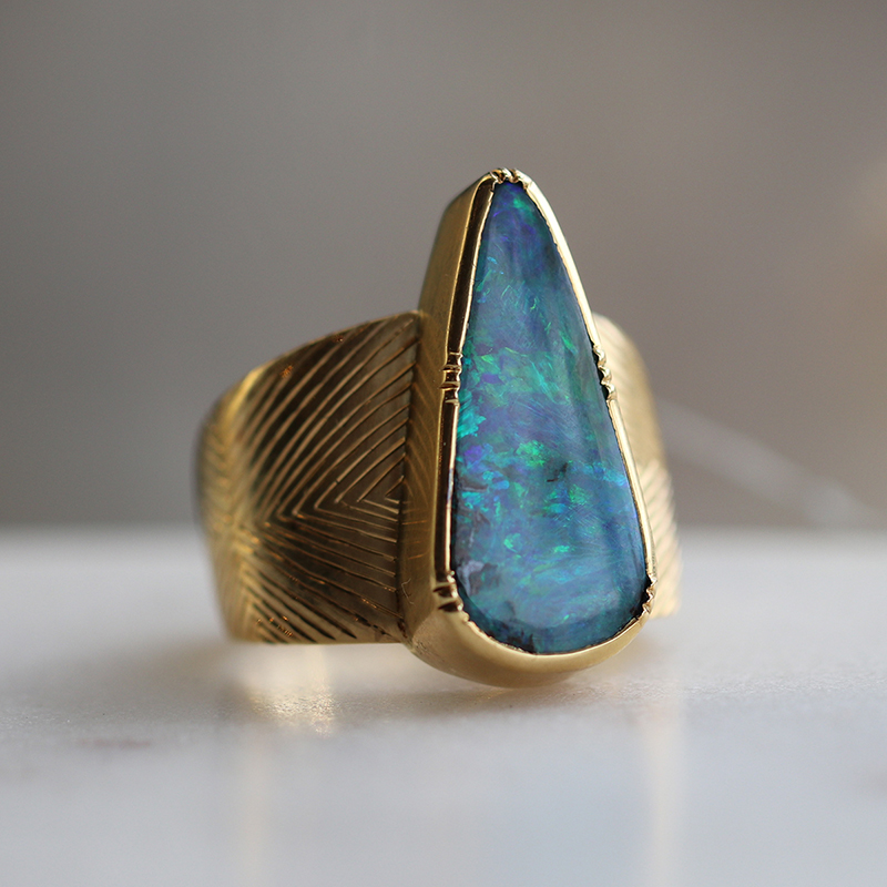 Eos Engraved Teardrop Boulder Opal Ring