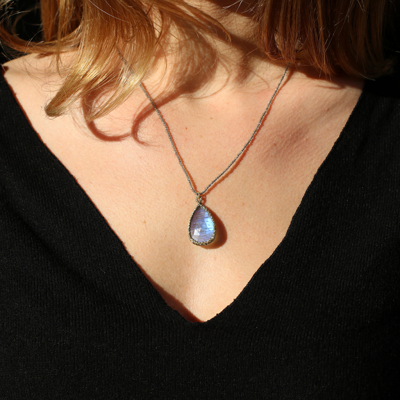 Caged Labradorite Teardrop Necklace