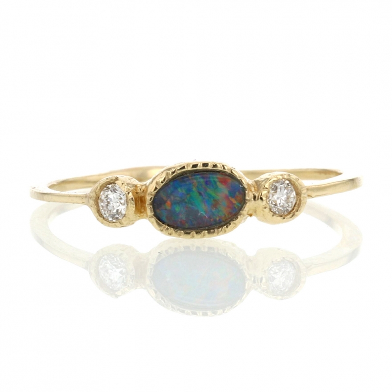 Opal and Diamond Textural Gold Ring
