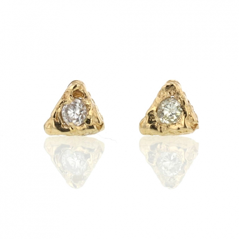 Gold Textural Triangular Post Stud Earrings with Diamonds