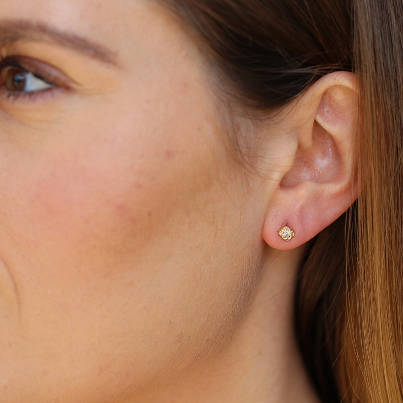 Square Textural Gold Diamond Post Stud Earrings