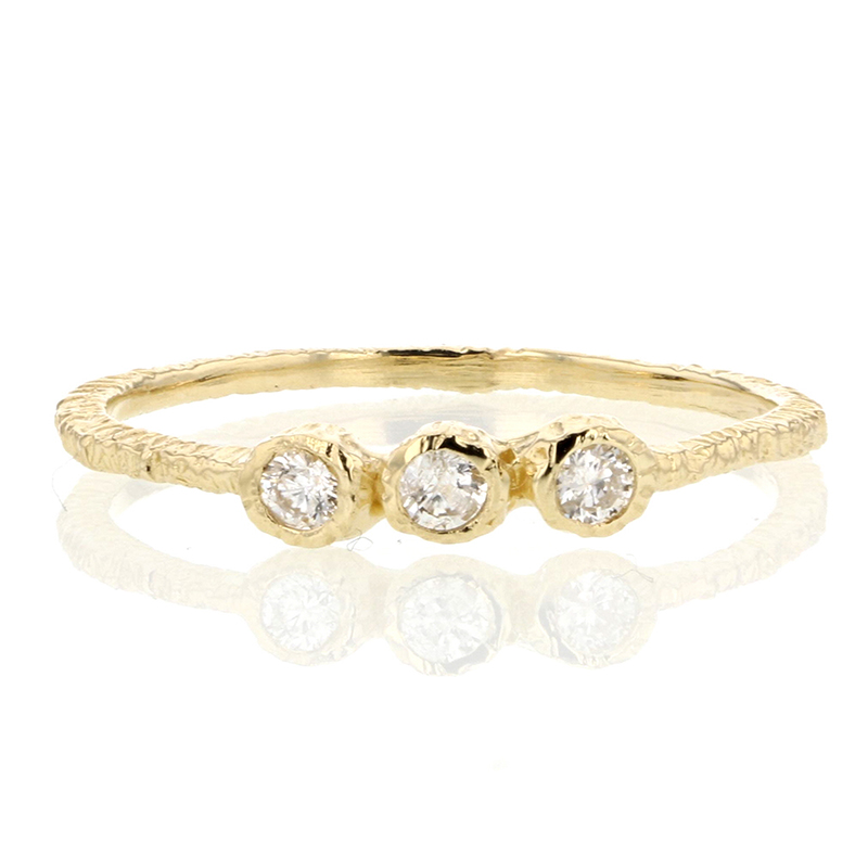 Triple 2mm Diamond Gold Etched Band