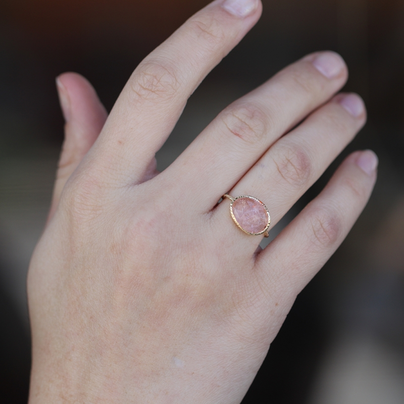 Open Backed Morganite Gold Ring