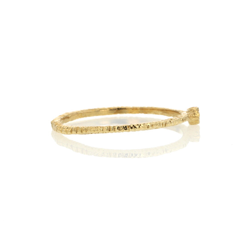 Etched Gold Band with Single Diamond