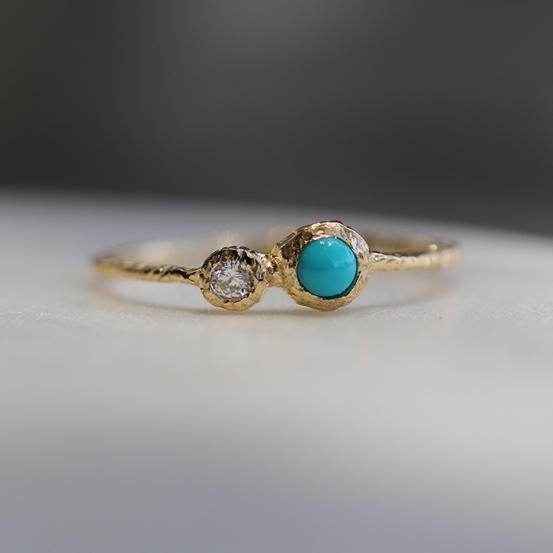 Turquoise and Diamond Etched Gold Ring