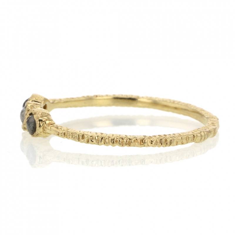 Triple Greyish Brown Diamond Yellow Gold Ring