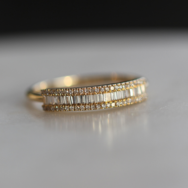 Gold Diamond Baguette Pave Bar Ring