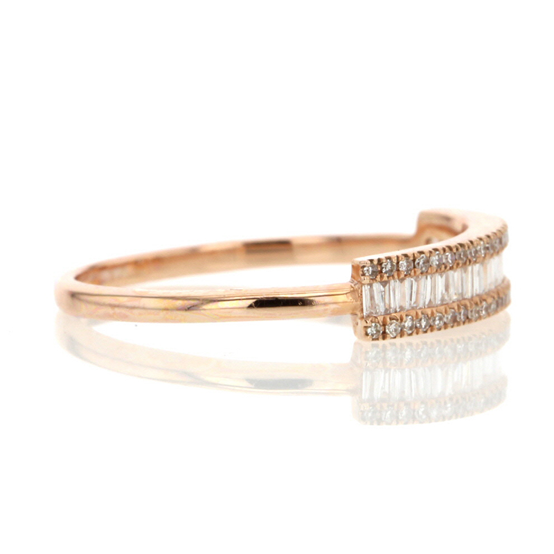 Rose Gold Diamond Baguette Pave Ring
