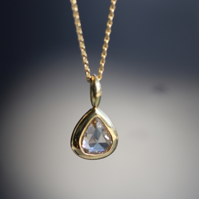 Rose Cut Pear Diamond Gold Necklace