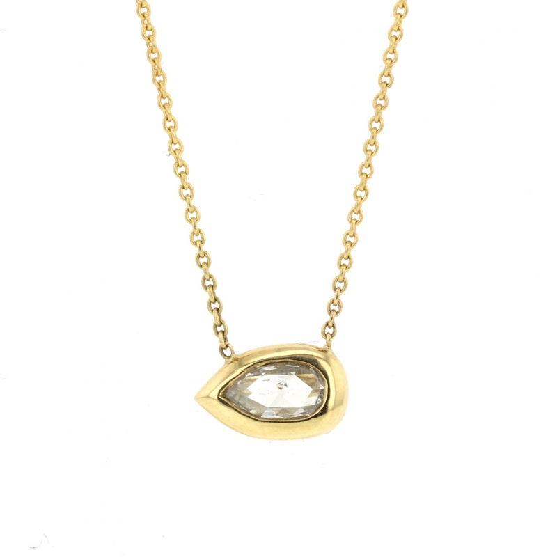 Long Pear Diamond 18k Gold Necklace