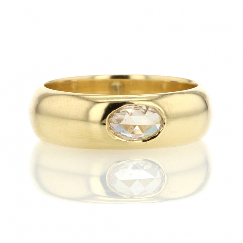 Peachy Oval Diamond 18k Gold Gypsy Ring