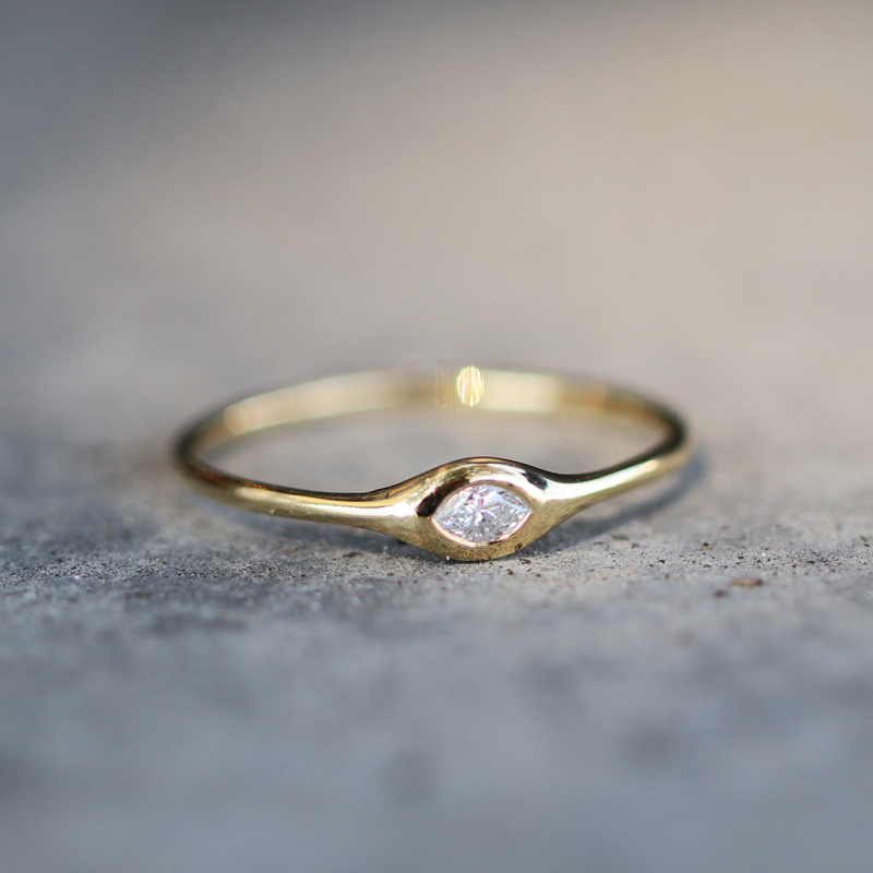 Marquise Shaped Diamond 18k Gold Stacking Ring