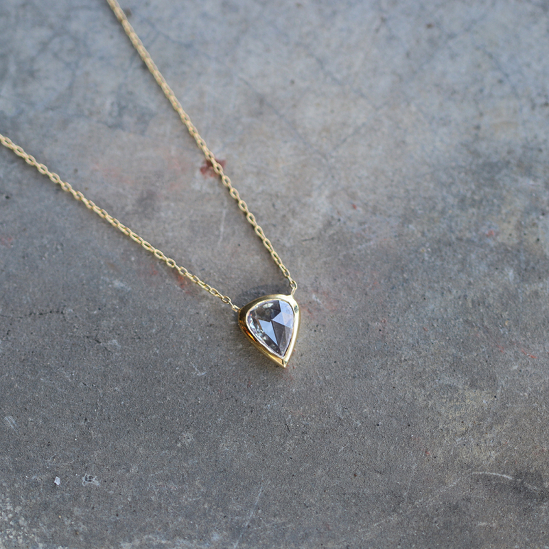 Rose Cut Diamond Pear Shaped Necklace