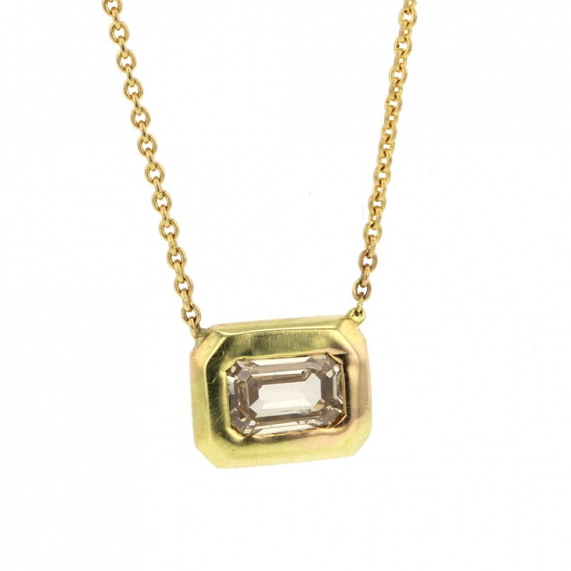 Large Emerald Cut Champagne Diamond 18k Gold Necklace