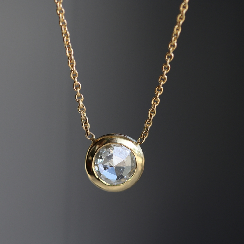 Round Rose Cut White Diamond Gold Necklace