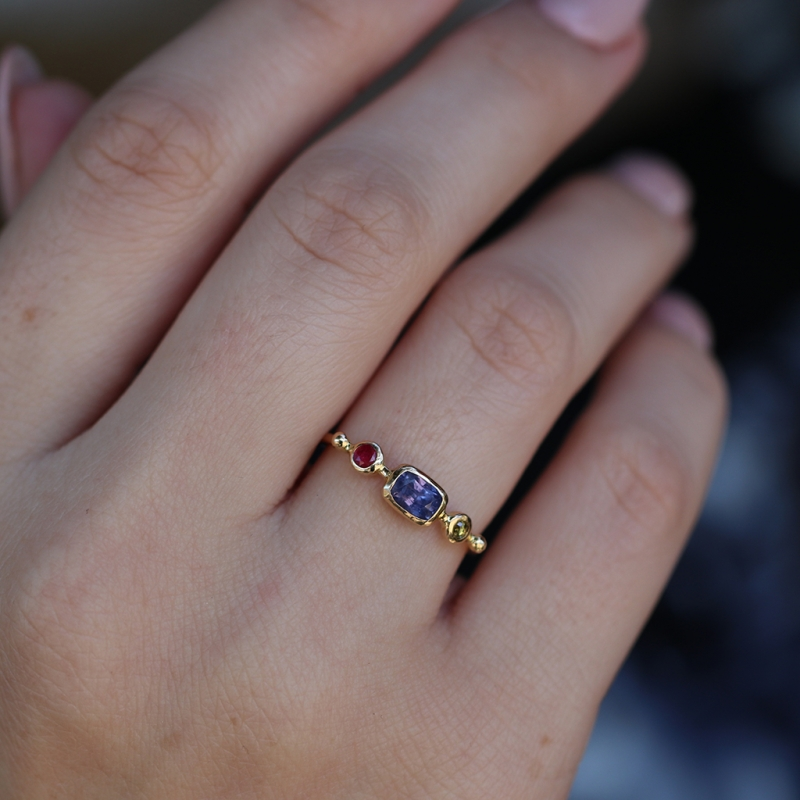 Purple Sapphire with Diamond and Spinel Simple Ring