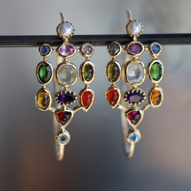 Large Poissardes Multi Gem Hoop Earrings