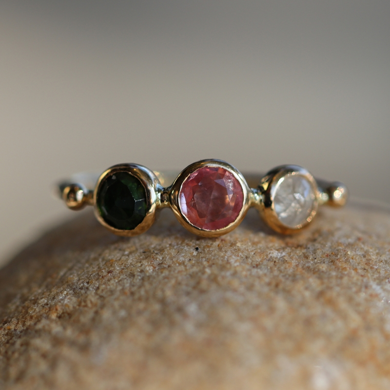 Green Tourmaline, Pink Tourmaline and Diamond Simple Ring