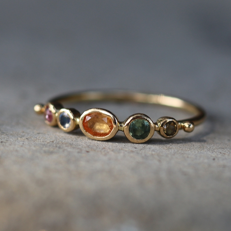 Multi Gemstone Diamond Sapphire Moonstone Ring