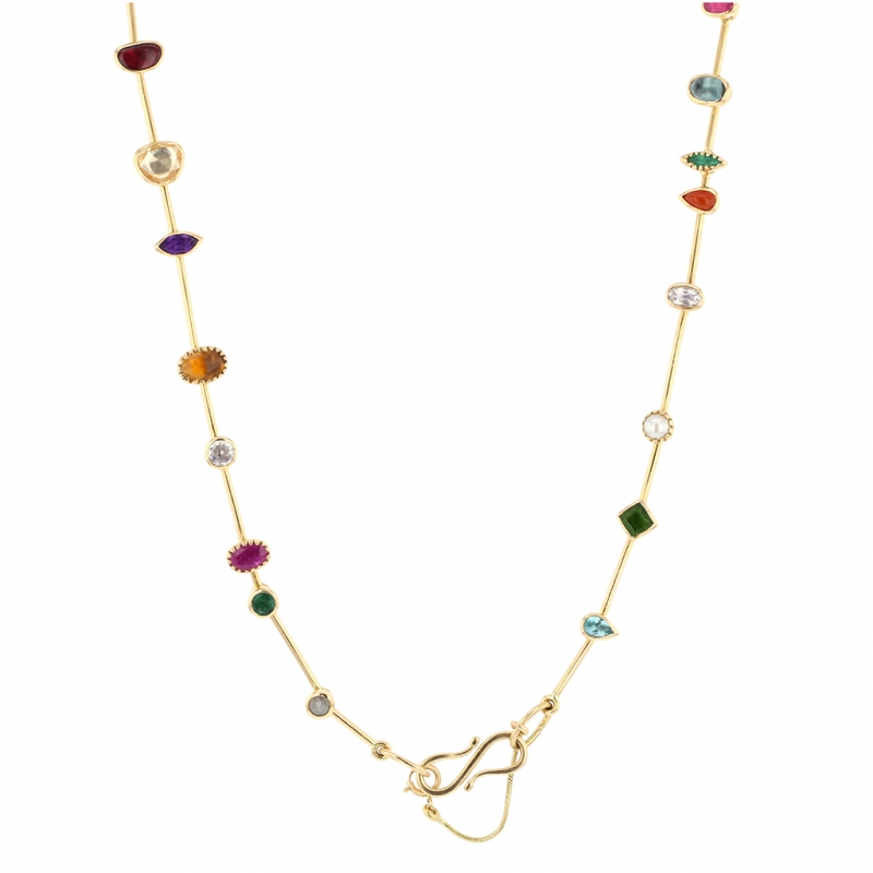 Gemstone Gold Collar Necklace