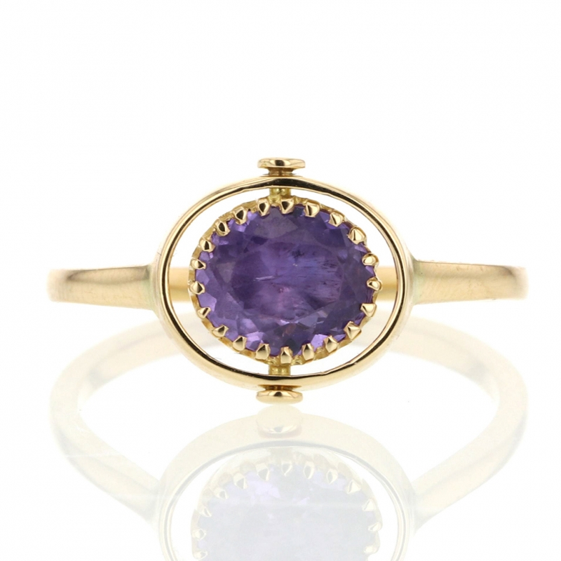 Heads or Tails Purple Sapphire 18k Gold Ring