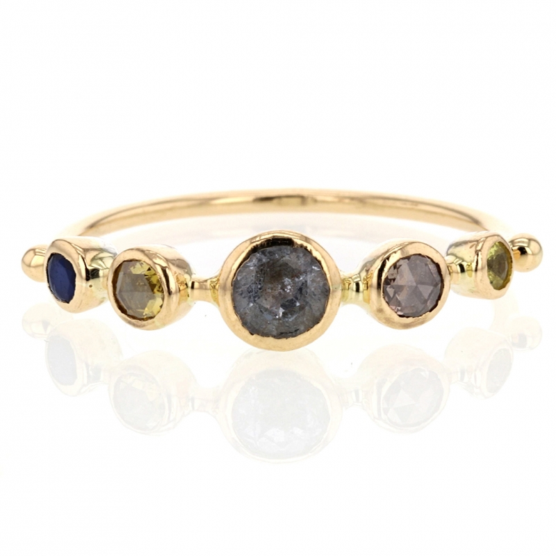 Moonstone, Sapphire and Diamond Ring